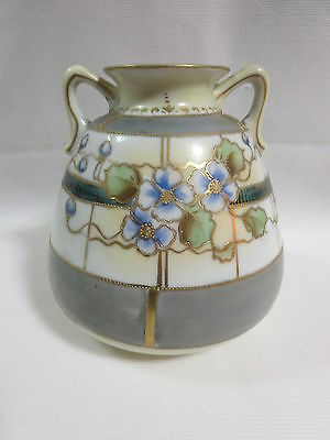 VTG.Mid Century NIPPON Hand Painted & Gilt 2 HANDLED VASE/ JUG Moriage DELICATE