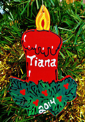 Personalized CANDLE HOLLY ORNAMENT Christmas Name 2014 KIDS Holiday Decor