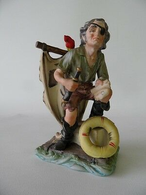 VINTAGE PORCELAIN ITALIAN CAPODIMONTE NAPLES  PIRATE SAILOR FIGURINE