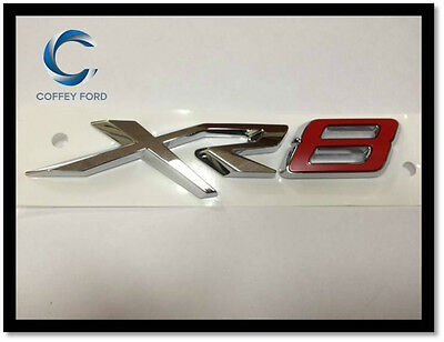 """Genuine Ford Falcon FGX """"XR8"""" Badge. Front Grille. Silver / Red. AU/BA/BF."""