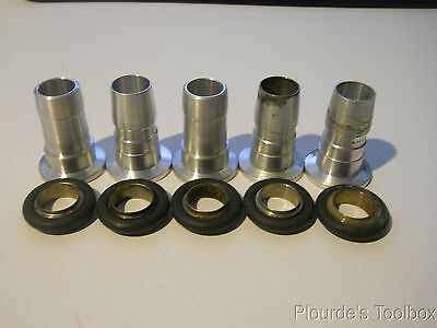 """Lot of (5) NW-16 Aluminum Vacuum 3/4"""" Hose Barb Fittings with Center Ring Seals"""