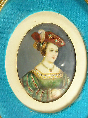 Miniature Antique Portrait Painting Woman On Ivory - Circa 1840-50