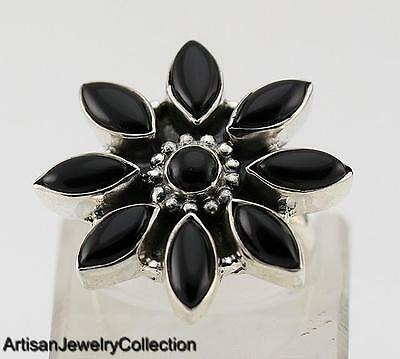 BLACK ONYX & 925 STERLING SILVER RING JEWELRY SIZE 9  R533A