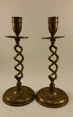 Solid brass barley twist engraved etched wedding candlestick candle holders pair