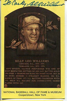 Signed Billy Williams Auto Hall Of Fame Postcard Plaque W/ COA