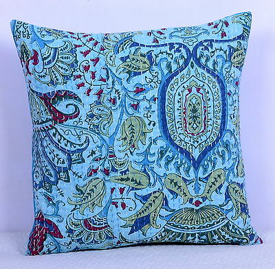 """16"""" INDIAN CUSHION PILLOW COVER THROW Kantha Ethnic Vintage Floral Handmade Art"""