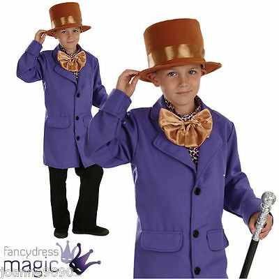 *Boys Childs Willy Wonka Factory Owner Book Week Day Fancy Dress Costume Outfit*