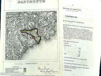 DARTMOUTH -  Antique Map / Plan, Boundary Commissioners Report - 1868 .