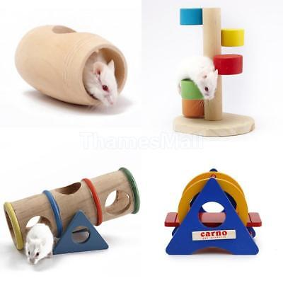 4PCS Natural Wood Barrel Cage Hamster House Seesaw Ladder for Hamster Mouse Toy