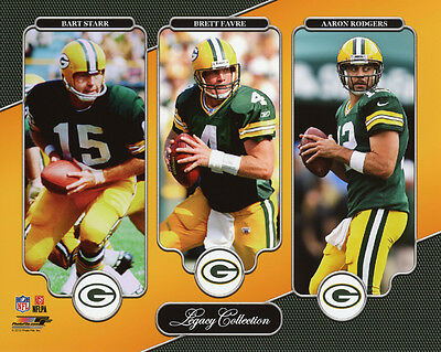 Green Bay Packers BART STARR BRETT FAVRE AARON RODGERS Glossy 8x10 Photo Poster