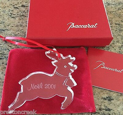Baccarat Crystal: 2001 Annual Noel Ornament - Reindeer! Lovely and MIB!