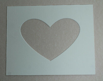 10 X 8 Inch Heart Shaped White Mounts to fit 7 x 5 inch Picture/Photo pack of 5
