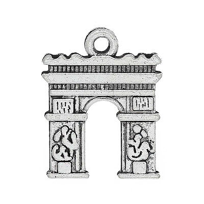 10 Silver Metal ARC DE TRIOMPHE Paris France Arch Charm Pendants chs0482