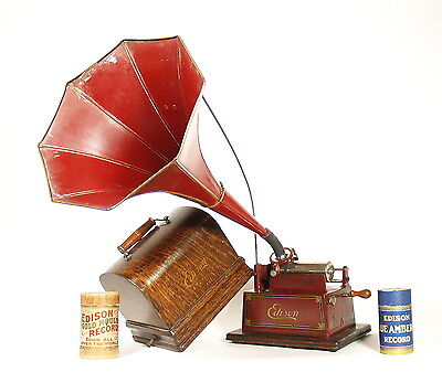 1909 Edison Maroon Gem Cylinder Phonograph with Original Maroon Horn * A Beauty