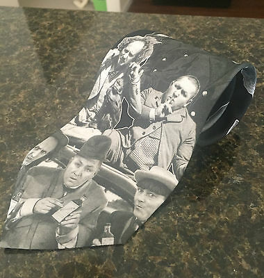 Three Stooges Black & White Men's Tie by Ralph Marlin Made in USA