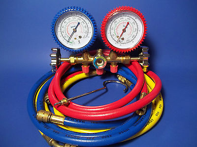 "MANIFOLD GAUGES w/set of 60"" Hoses w/Sight Glass for  R12,R22,R502"