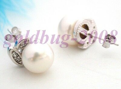 Elegant girl white freshwater pearl earrings with a pair of 9 to 10 mm girl/gift