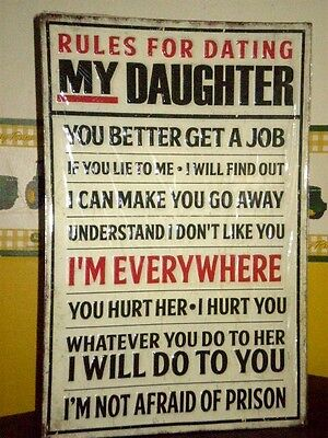 RULES FOR DATING MY DAUGHTER Embossed Metal Vintage Look Man Cave Hot Rod Shop