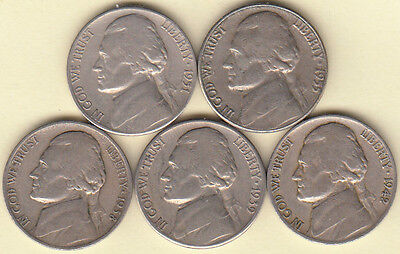1938-D 1939-S 1942-D 1951-S 1955-P JEFFERSON NICKELS NICE CIRCULATED FAST SHIP!!