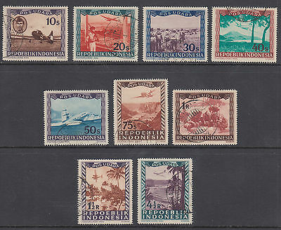 Indonesia Sc C1-C9 used 1948 Air Post issue, short set to 4½r value