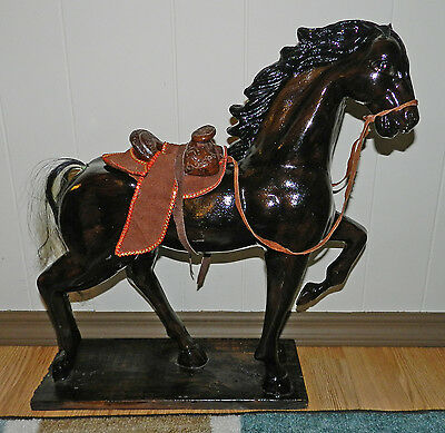 GORGEOUS VINTAGE? EXTRA LARGE HAND CARVED, HAND PAINTED WOOD HORSE!! MEXICO
