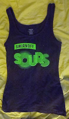 SMIRNOFF SOURS Tank Top, Black w/ Neon Green, Exclusively For Everybody, Medium