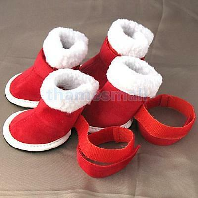 Red Cozy Dog Pet Walking Boots Shoes Clothes Apparel