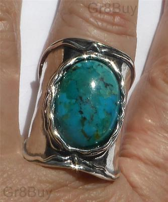 RING: Ladies Large 925 Sterling Silver - TURQUOISE  (Made by Shablool) #7
