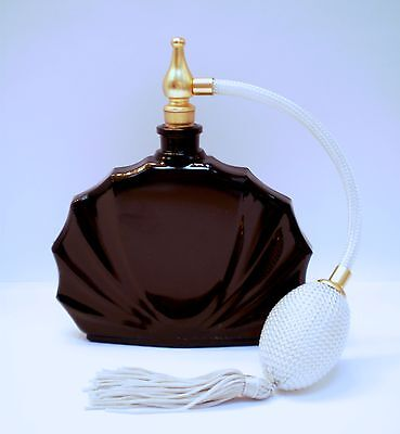 FRENCH PERFUME BOTTLE BLACK CLAM SHELL DESIGN WITH SILVER ATOMIZER