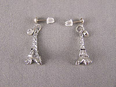 "Silver tone La Tour Eiffel Tower dangle post 1 3/16"" long earrings Paris France"