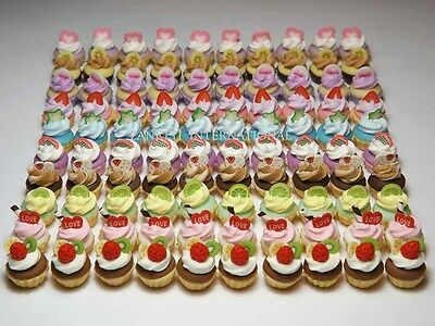 100 Dollhouse Miniature Assorted Cream Cupcakes Mini Food Cakes Bakery - T1