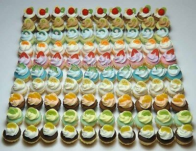 100 Dollhouse Miniature Assorted Cream Cupcakes Mini Food Cakes Bakery - T2