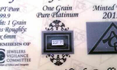 x5 ACB Platinum SOLID BULLION MINTED 1GRAIN PT BAR 99.9 Pure