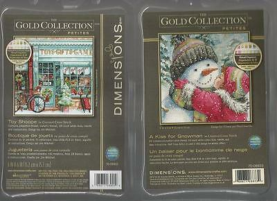 LOT OF 2 Counted Cross Stitch Kits TOY SHOPPE ~ A KISS FOR SNOWMAN