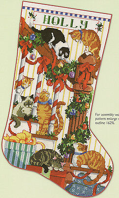 """""""Curious Cats"""" Christmas Stocking Counted Cross Stitch Pattern Cats on Staircase"""