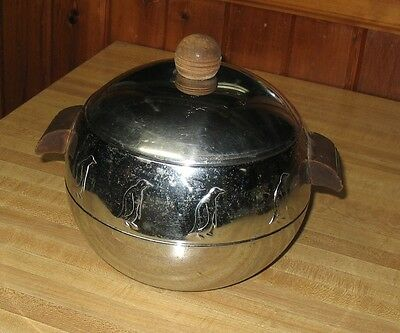 Vintage West Bend Penguin Ice Bucket with Wooden Handles FREE PRIORITY SHIP