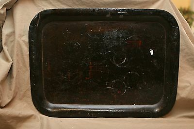 Antique Tole Tray Early Faint Stenciled Paint Alligatored Varnish Glass Rings