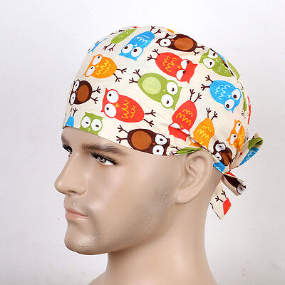Men Doctor/Nurses Lots Colorful Owl Printing Surgery Medical Surgical Hat/Cap