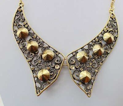 Hot New Come Charm Retro Vintage Hollow Out Metal Rivet Bib Collar Necklace Free