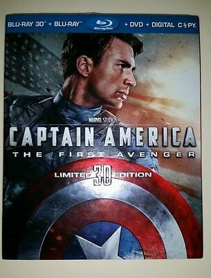 Captain America The First Avenger Blu-Ray 3D DVD Limited Edition with Slipcover