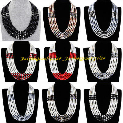Fashion Multicolor Pearl Bead Crystal Layers Chunky Chain Statement Bib Necklace