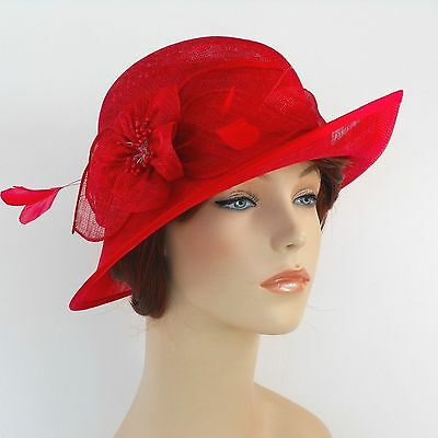 New Woman Church Derby Wedding Sinamay Ascot Dress Hat  DR-04 Red