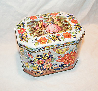 Vintage Darmer Container Tin #11101 18th Century Couple on Top Hinged Lid