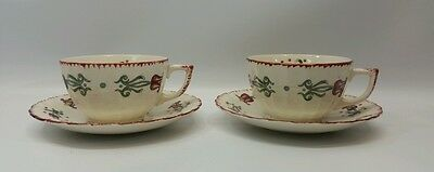 American LIMOGES Old Dutch Tulip Cup and Saucer Set x2