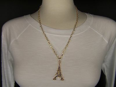 "Gold clear crystal La Tour Eiffel Tower 22"" long necklace Paris France pendant"