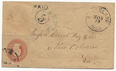 CSA Turned Cover Pre War US Scott #U10 Postal Stationery Grenada MS Stateland MS