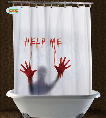 1.8M Scary Horror Halloween Shower Curtain Blood Help Me Psycho Party Decoration