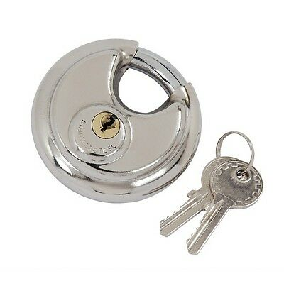 CT0372 50mm Disc Lock Padlock Stainless Steel Closed Shackle With 2 Keys Strong