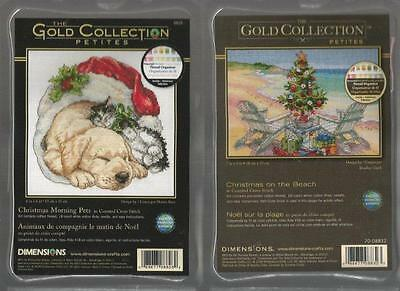 LOT OF 2 Counted Cross Stitch Kits CHRISTMAS ON THE BEACH~CHRISTMAS MORNING PETS