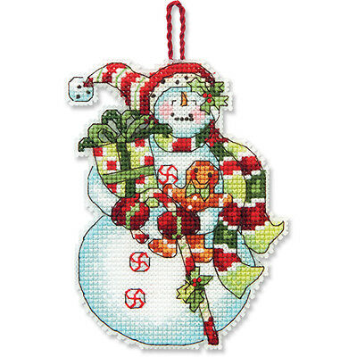 Counted Cross Stitch Kit SNOWMAN WITH SWEETS ORNAMENT